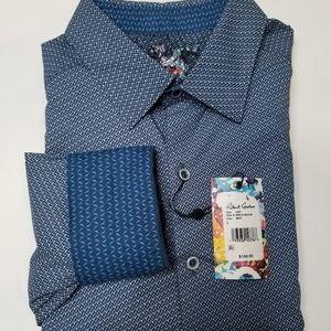 NWT Robert Graham Cade Navy Blue Large Shirt L/S